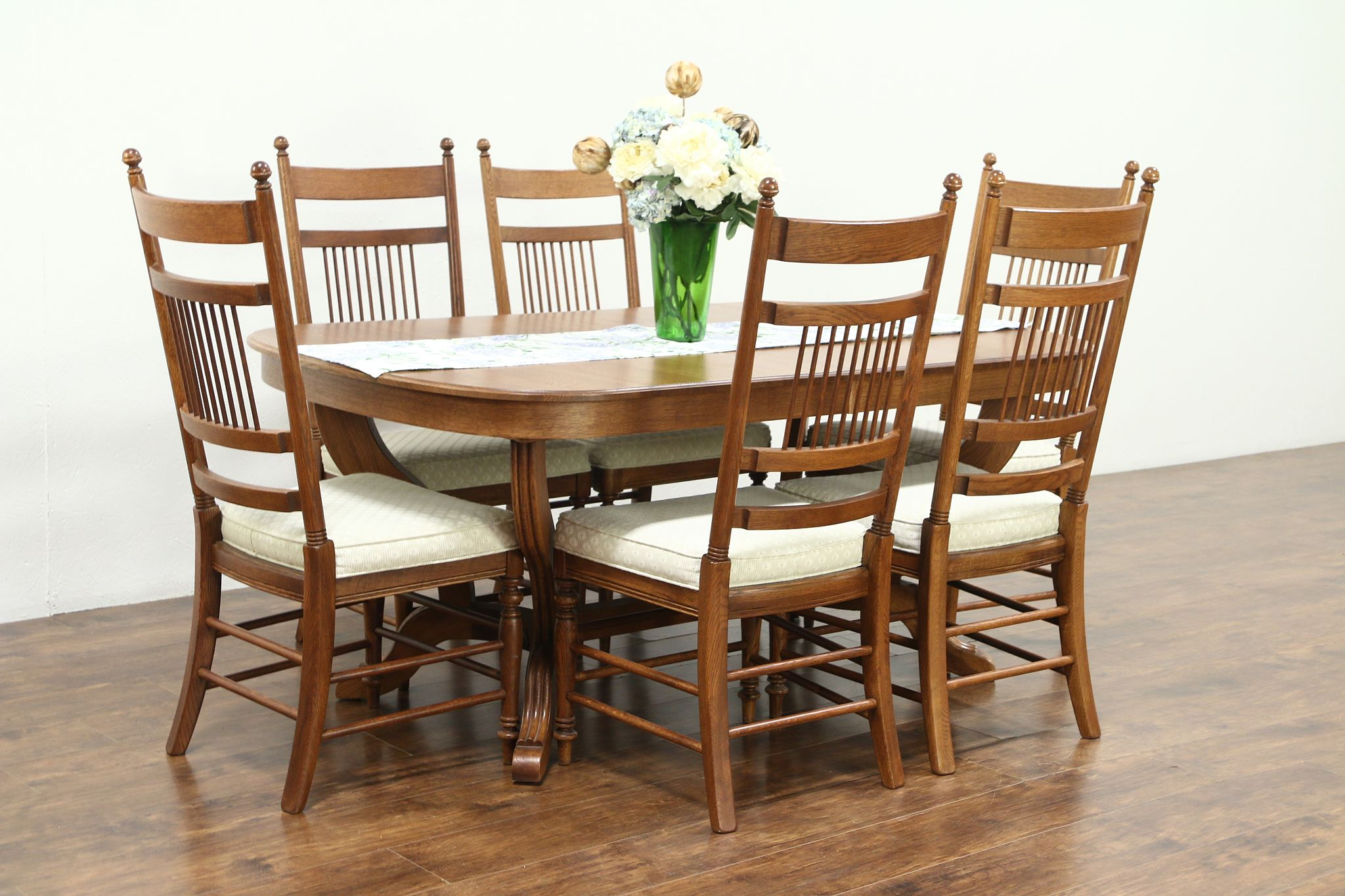 6 chair dining set folding online pakistan sold oak vintage table 4 leaves chairs signed richardson bros harp gallery