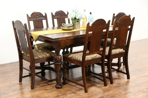 Sold - English Tudor Antique 1920 Oak Dining Set Table 2 Leaves 6 Chairs Harp