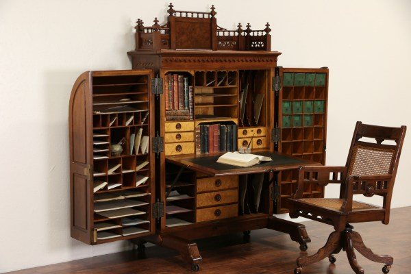 Sold - Wooton Signed Victorian 1874 Patent Antique Walnut