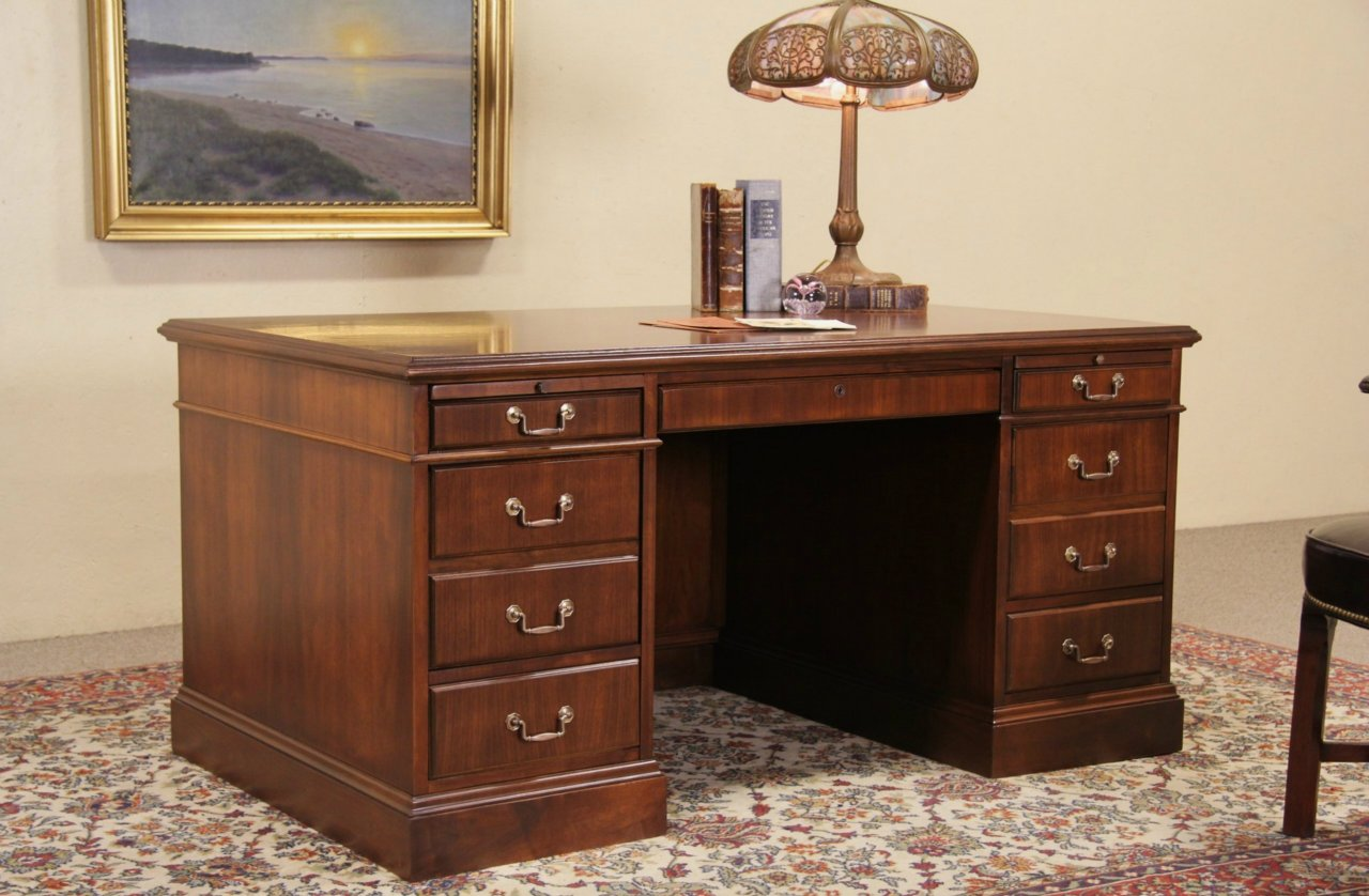 american furniture living room tables red sets sold - jofco walnut traditional vintage executive desk ...
