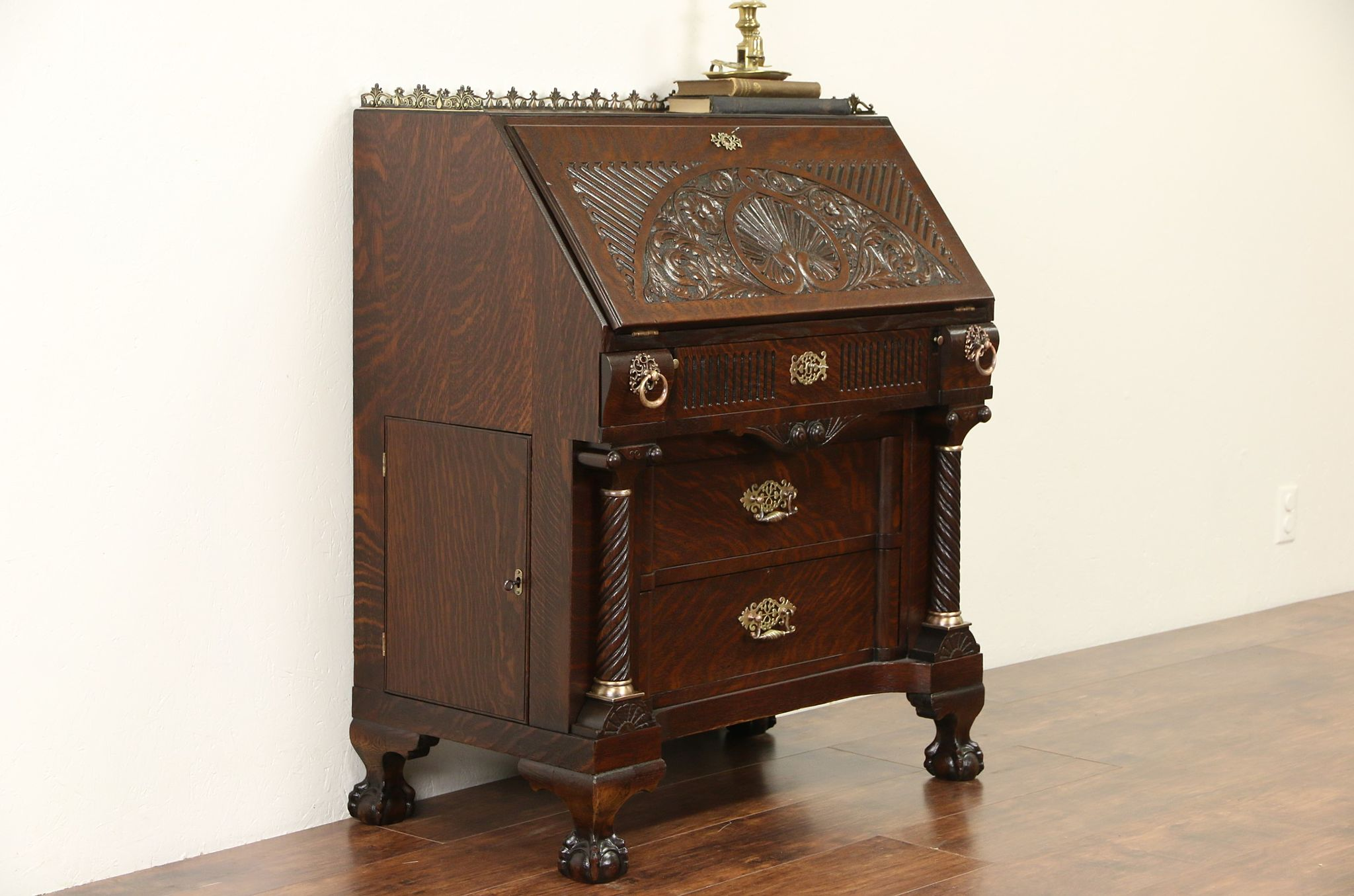 SOLD  Oak Carved 1890 Antique Secretary Desk Secret