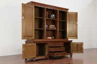 Dutch Gothic Carved Oak Antique Oak Bookcase or China