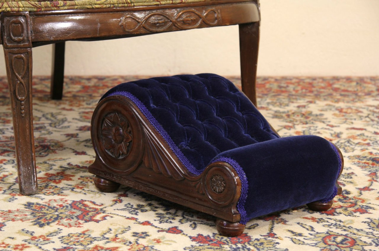SOLD  Gout Footstool 1900 Antique Mahogany  Velvet