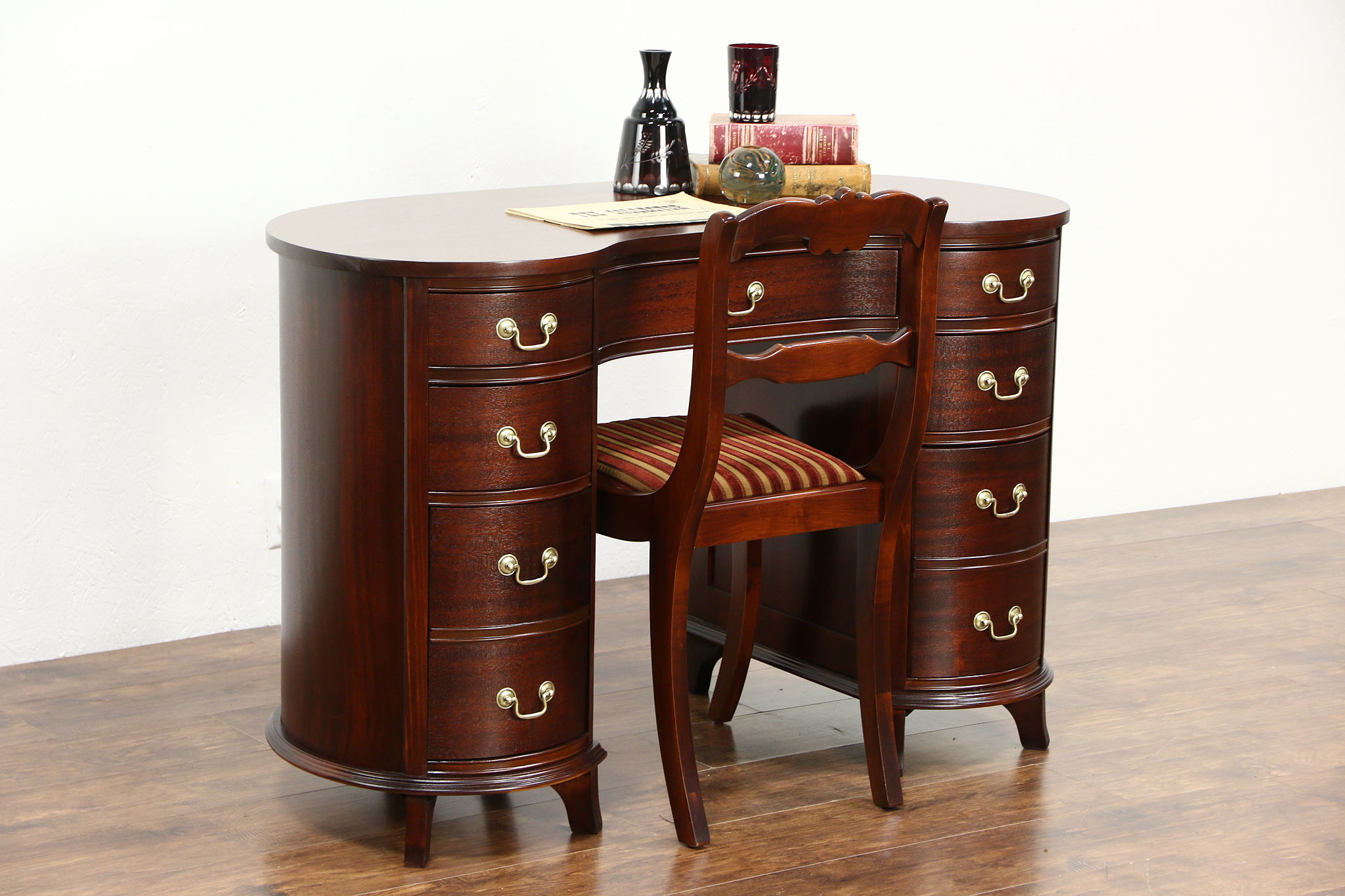 SOLD  Mahogany 1950 Vintage Kidney Desk  Chair Library