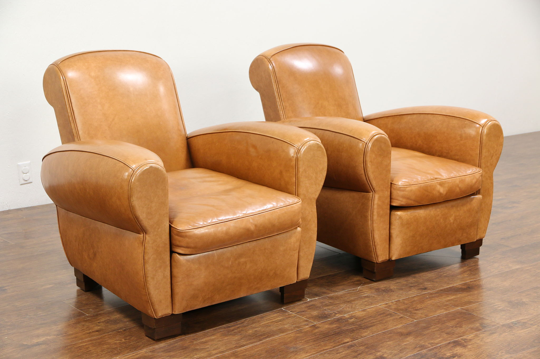 art deco style club chairs bedroom chair cheap sold pair of vintage french leather harp gallery