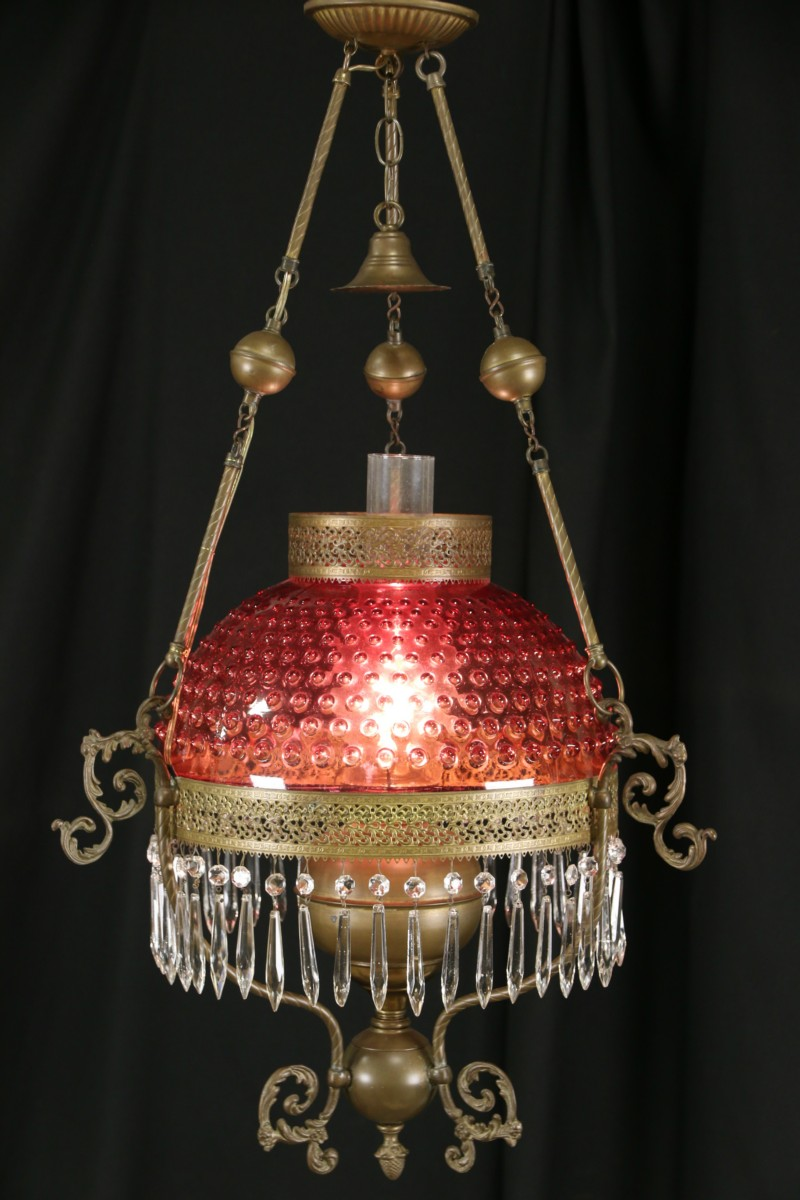 SOLD  Victorian Style Hanging Cranberry Glass Shade Lamp