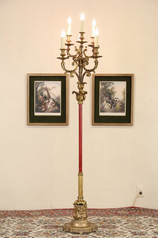 SOLD  Bronze 6 Candle Antique Candelabra Floor Lamp