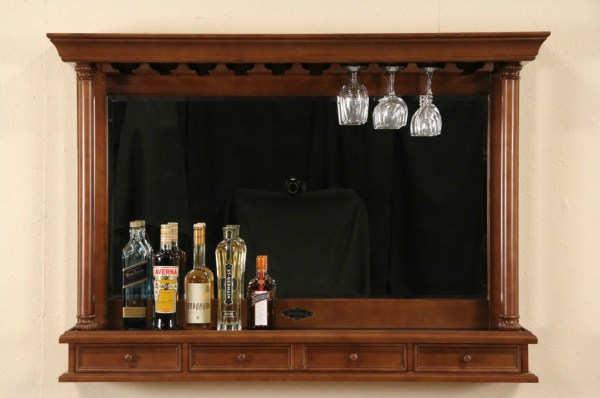 Sold - Brunswick Signed Cherry Bar Mirror & Glass
