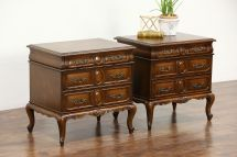Sold - Pair Country French Fruitwood Vintage End Tables