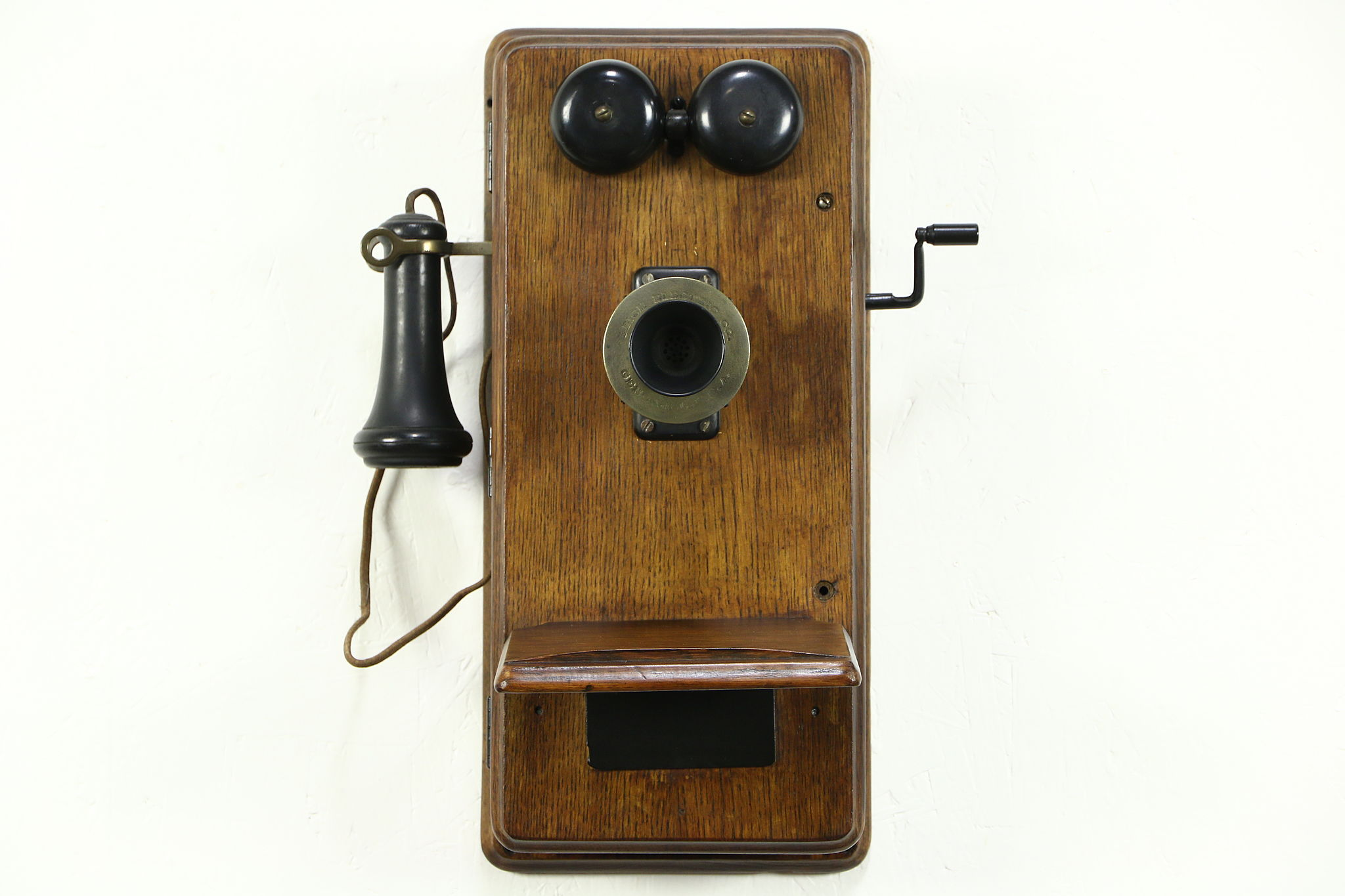 SOLD  Early 1900s Antique Oak Wall Telephone Signed