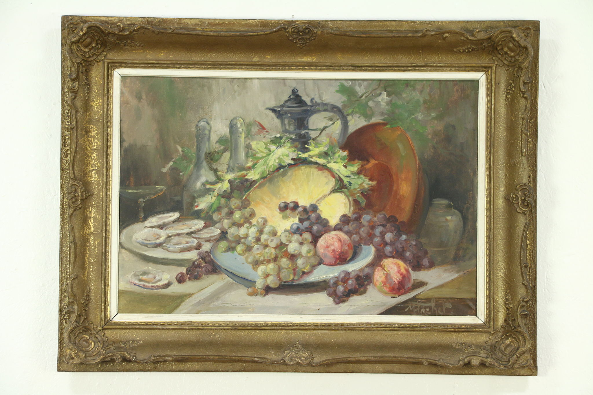 Oysters  Fruit Still Life Antique Oil Painting Carved