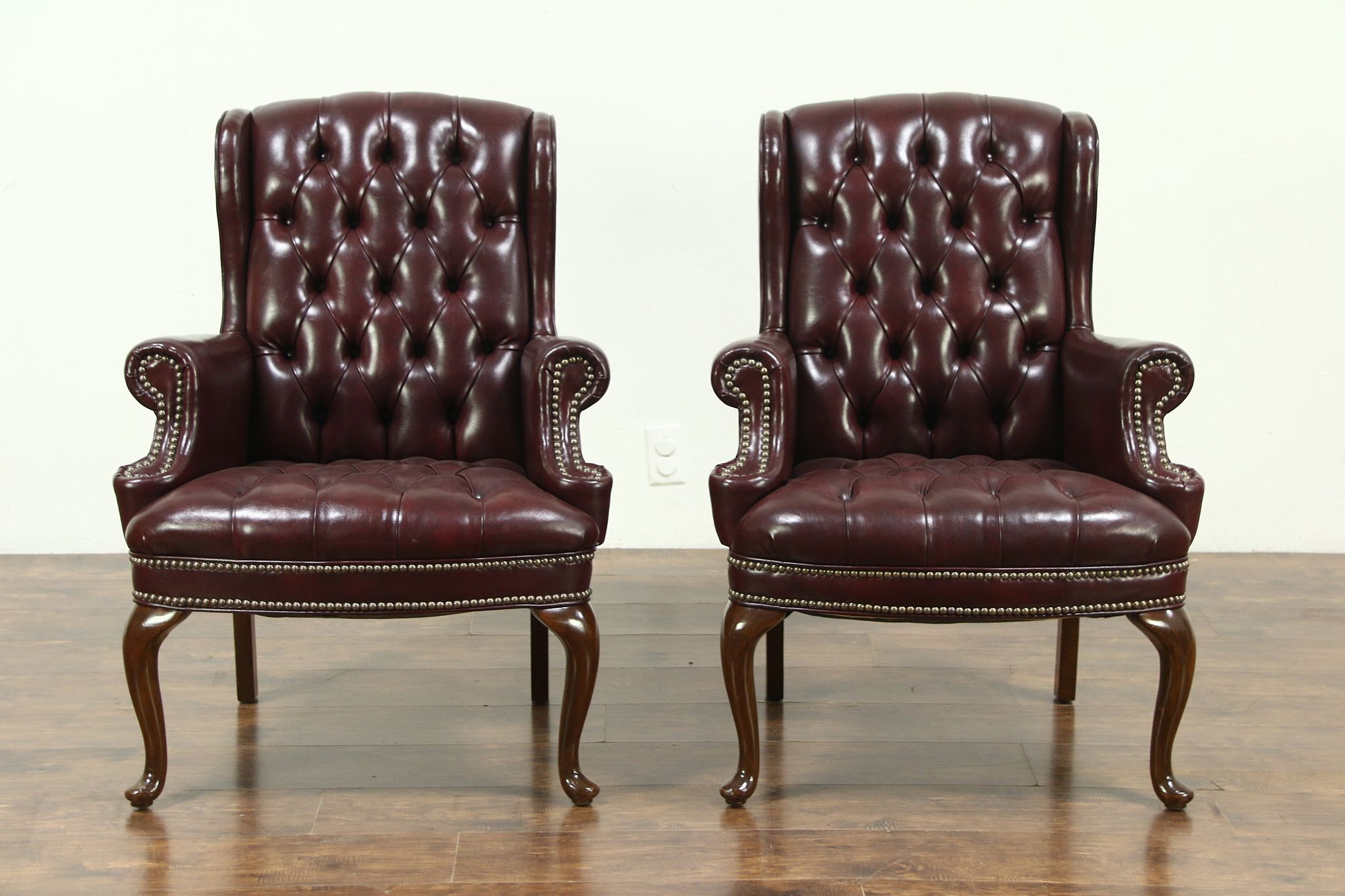 traditional leather wingback chair magis spun pair of tufted faux vintage wing chairs signed kentco harp gallery