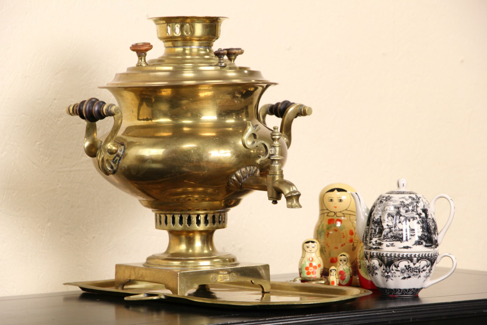 SOLD  Russian 1870 Brass Antique Signed Samovar Tea