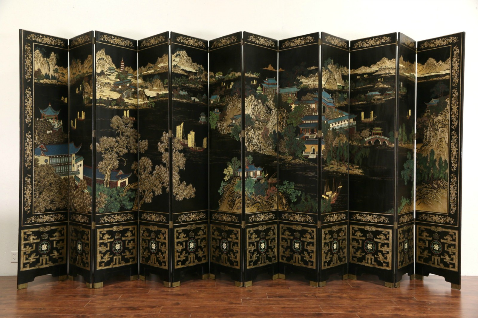 SOLD  Chinese 12 Panel 20 Wide Coromandel Carved Lacquer Vintage Screen  Harp Gallery