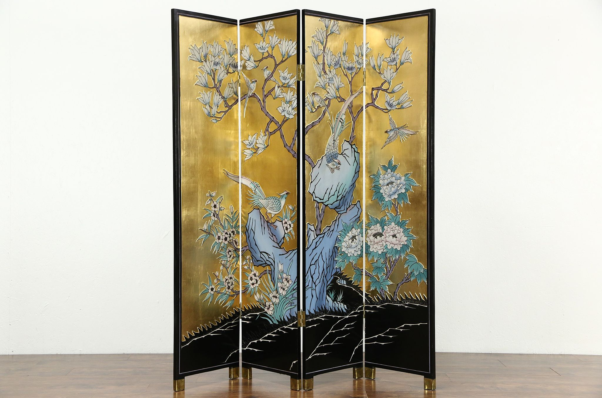 SOLD Chinese 4 Panel Gold Leaf Coromandel Carved Lacquer