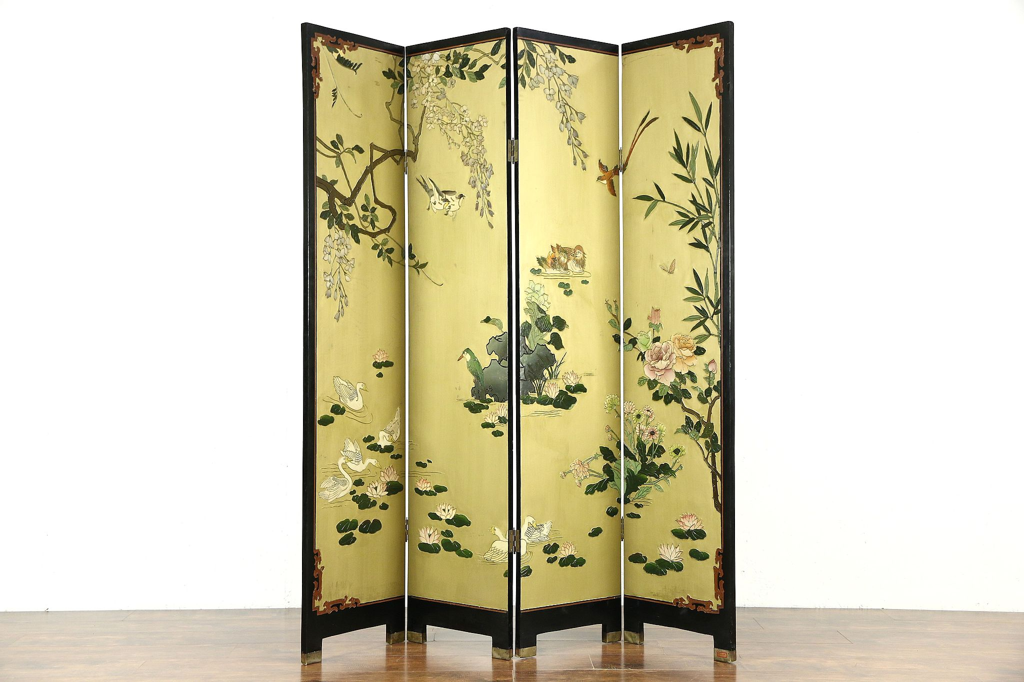 chinese kitchen accessories kraftmaid cabinet prices sold - coromandel carved 4 panel screen harp gallery