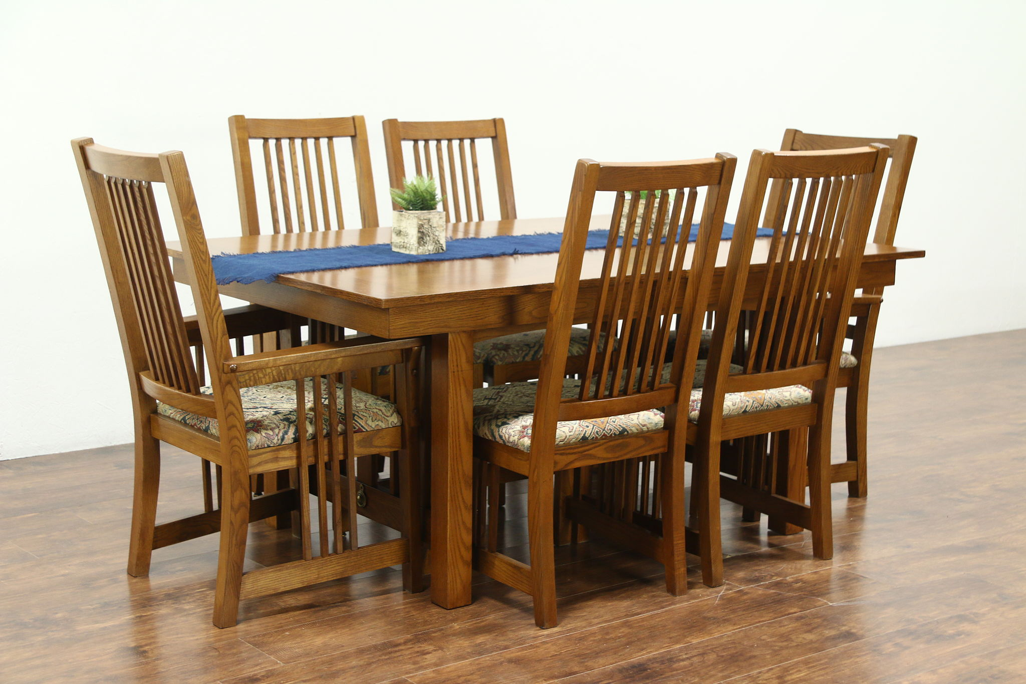 oak dining set 6 chairs revolving chair images sold prairie or craftsman vintage table 2 leaves harp gallery
