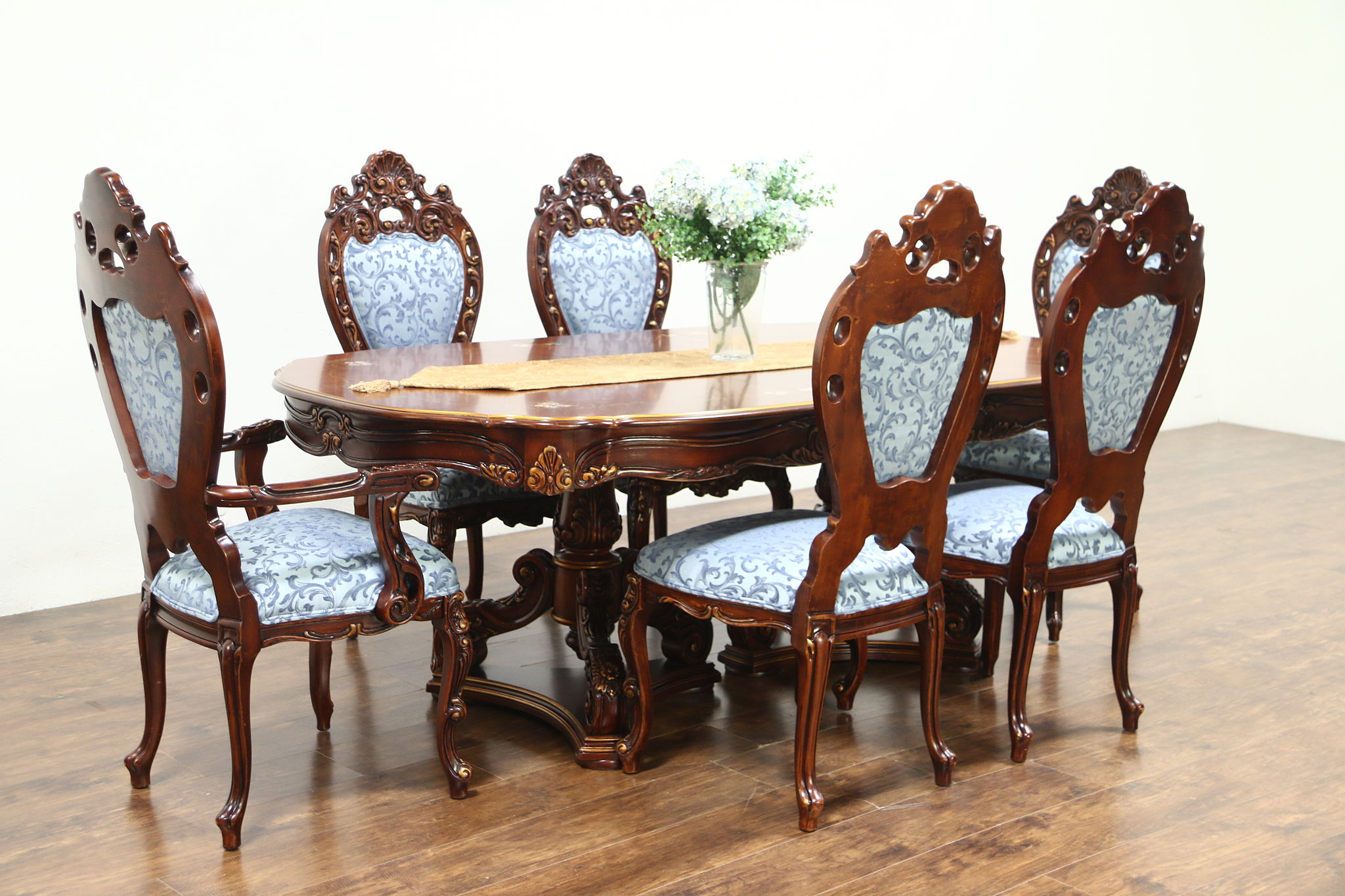 6 chair dining set cover rentals kingston baroque carved cherry vintage table chairs signed montalban harp gallery