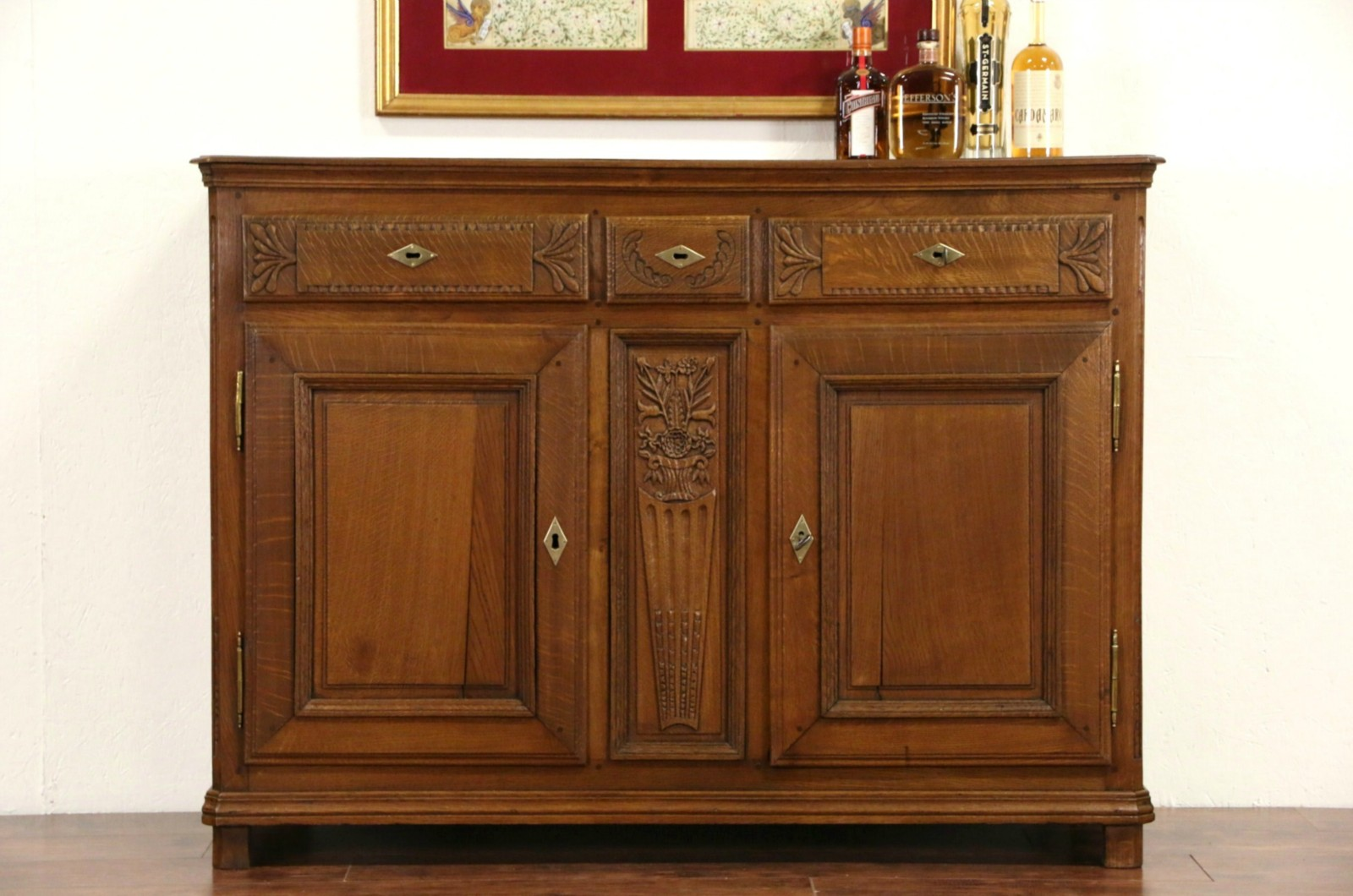 SOLD Country French 1820s Antique Oak Server Sideboard