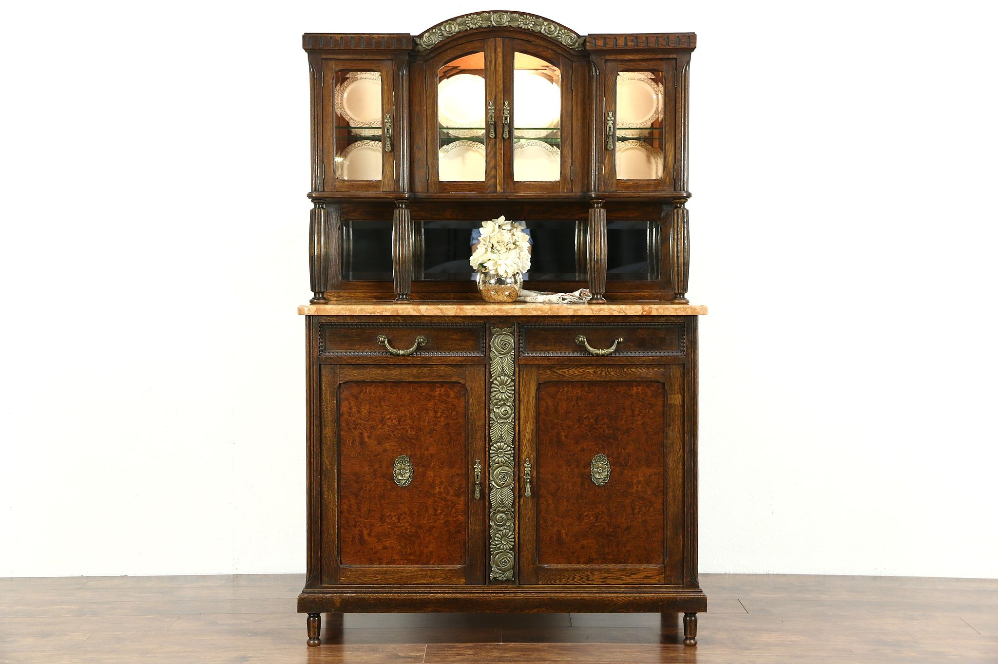 SOLD  Art Deco 1920 Antique Marble Top Server Sideboard China Cabinet Belgium  Harp Gallery