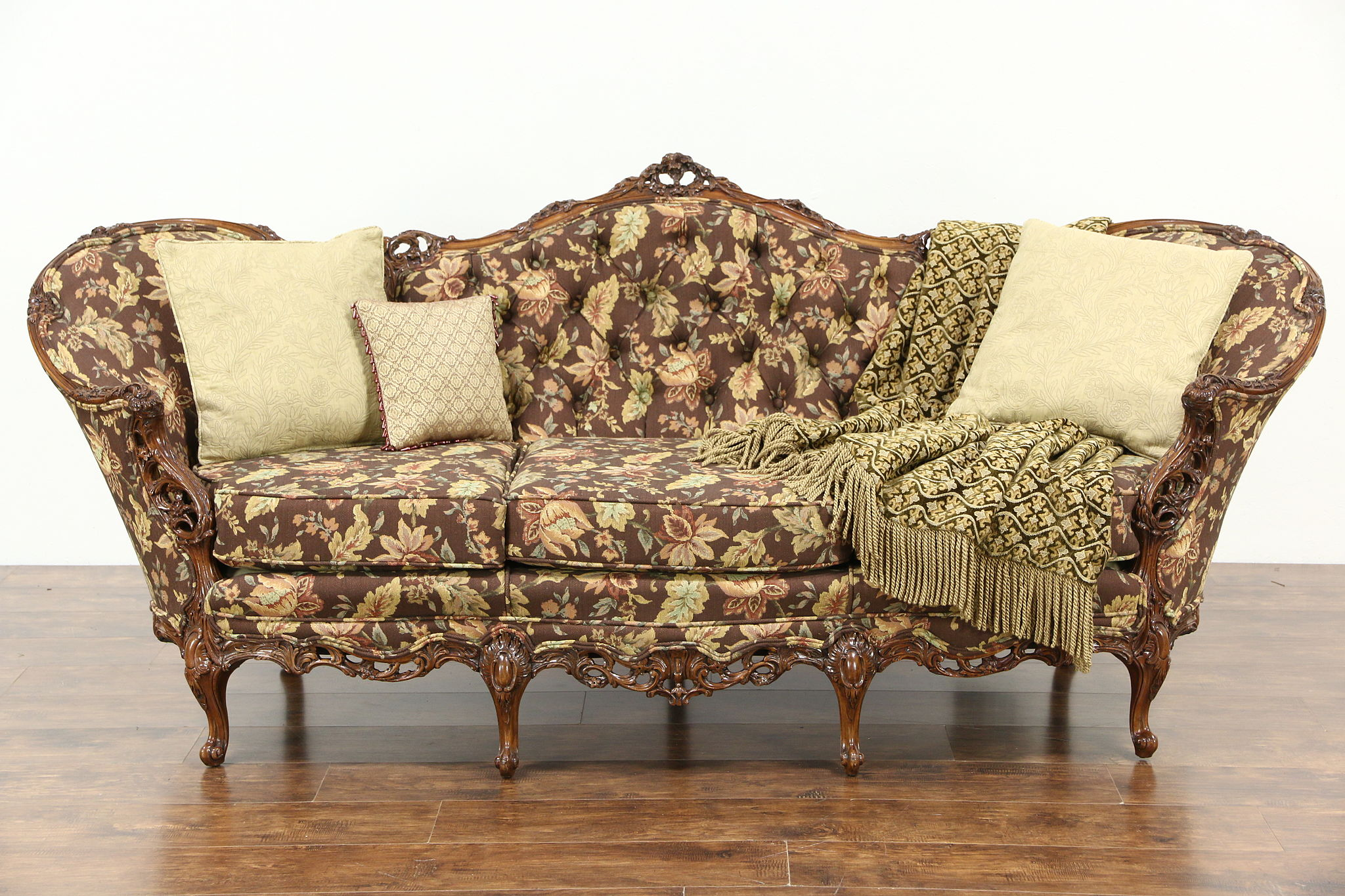 antique french sofa ebay 2 cushion recliner sold - carved 1940's vintage sofa, pierced swag & rose ...