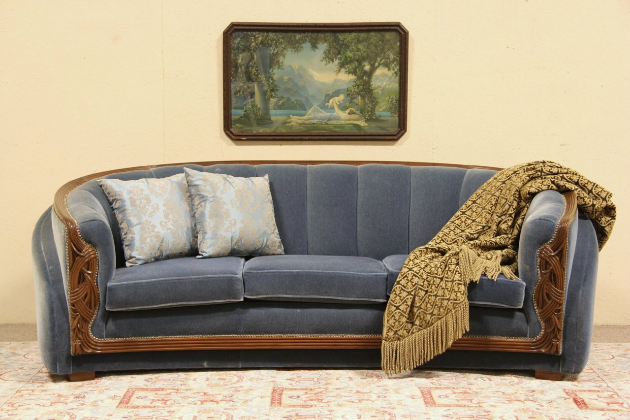 sofa art gallery sofas more sioux falls sold deco 1935 new genuine mohair upholstery