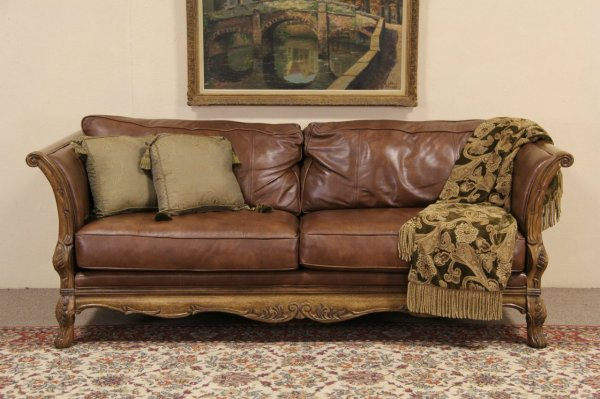 Sold - Bernhardt Country French Leather & Carved Fruitwood