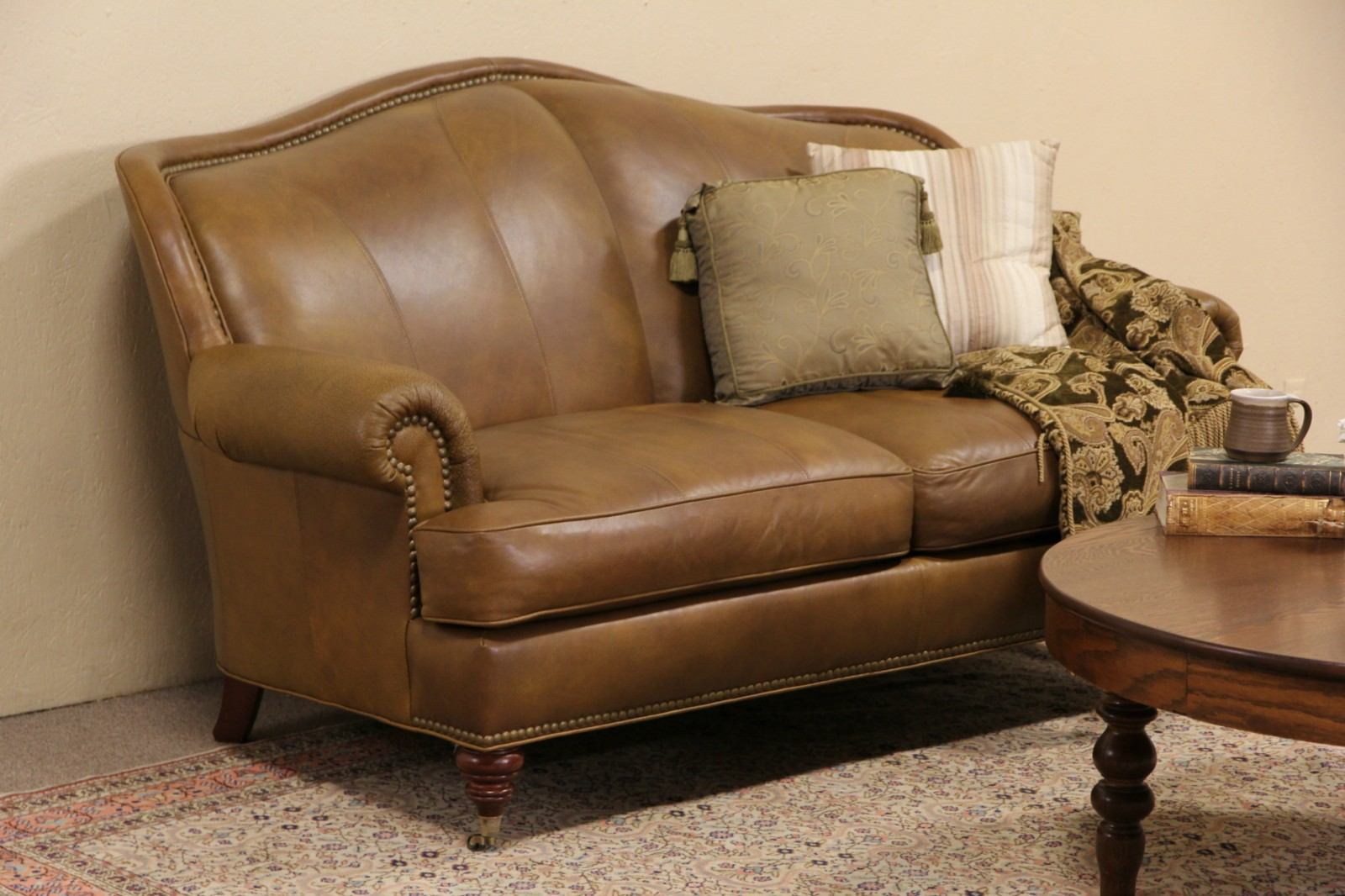 2 cushion sofa hartwell bench sold whittemore sherrill leather brass nailhead trim harp gallery