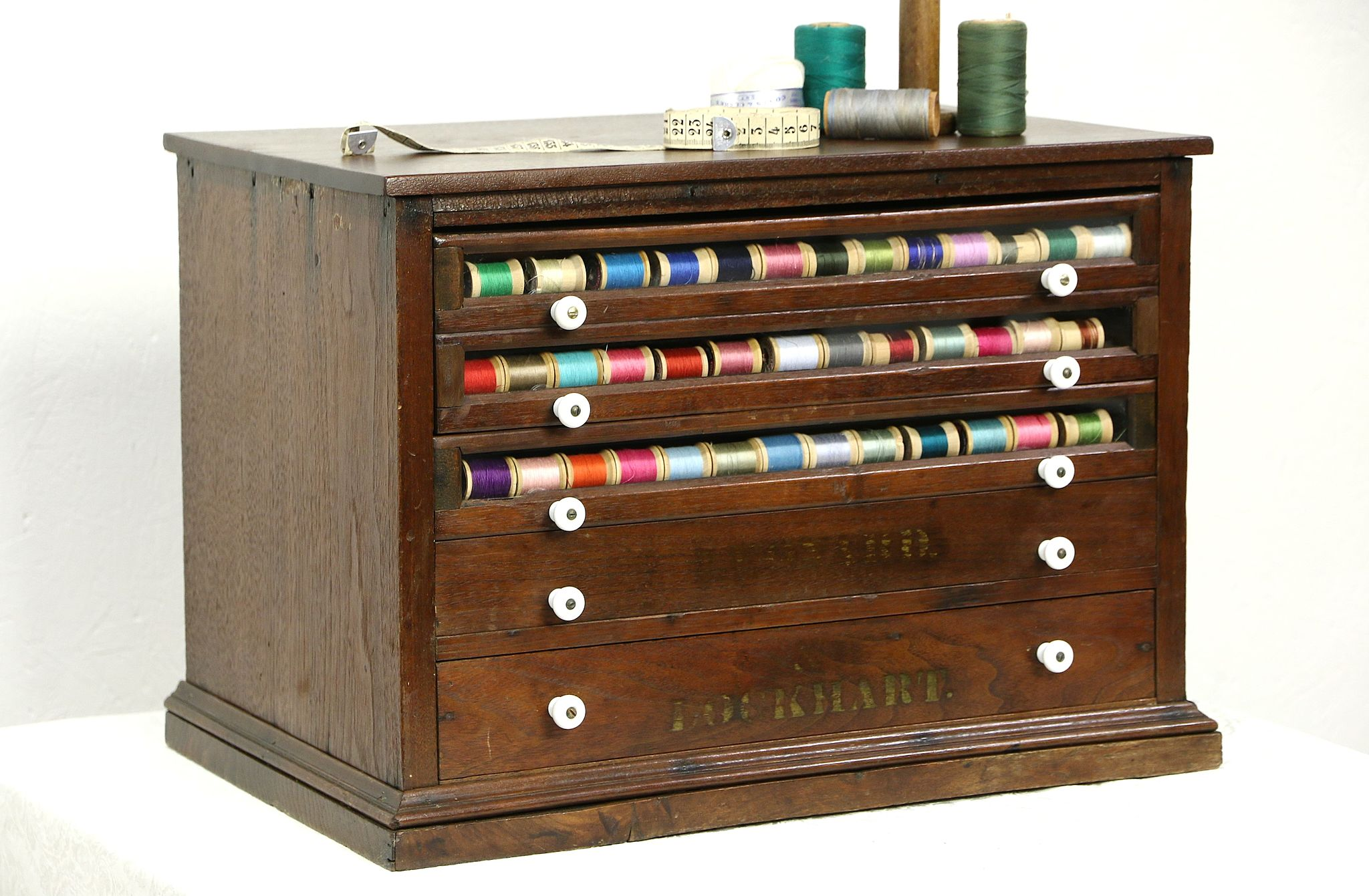 SOLD Spool Cabinet Victorian Antique Walnut Countertop Collector Or Jewelry Chest Harp Gallery