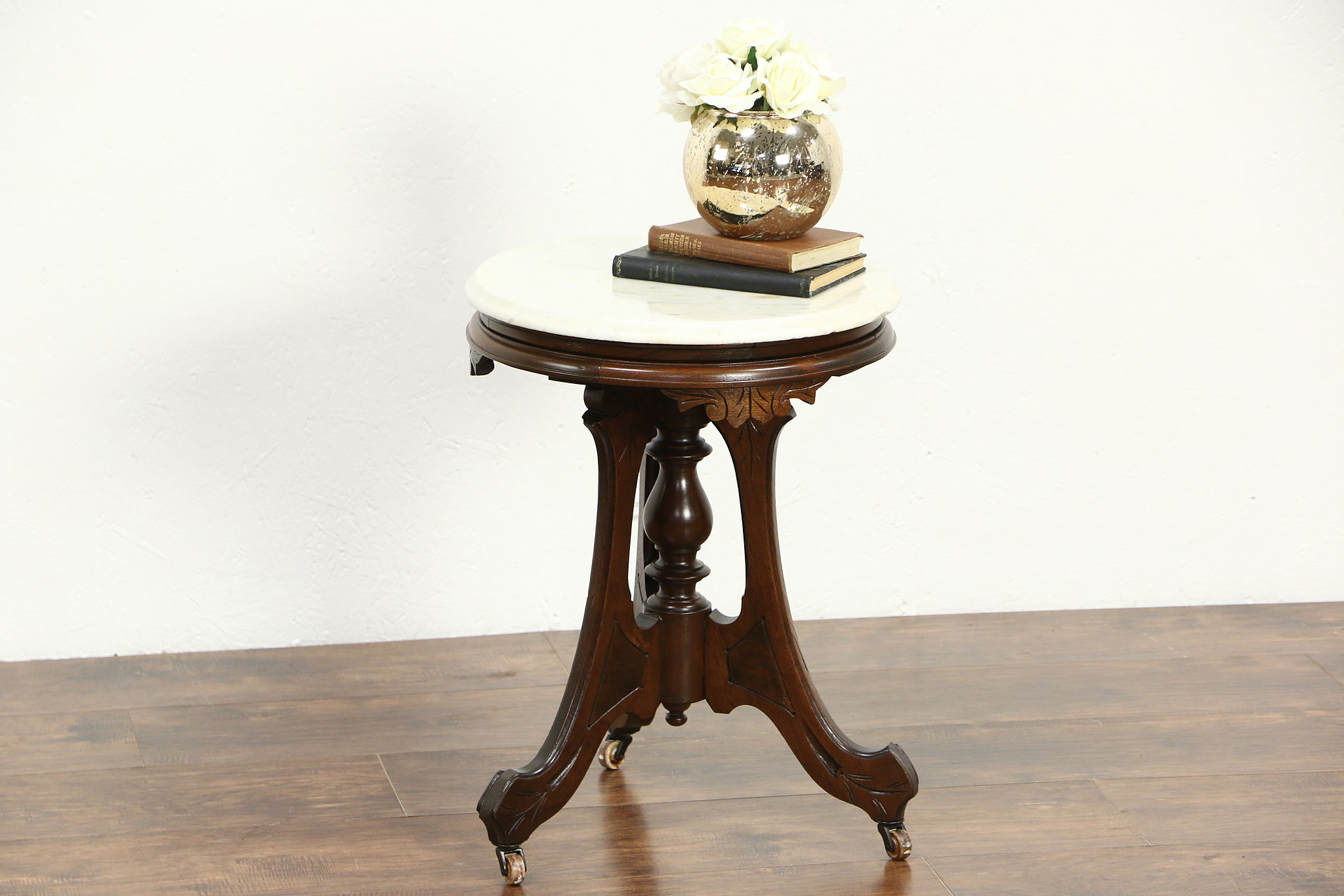 SOLD  Victorian 1880s Antique Round Chairside Table or