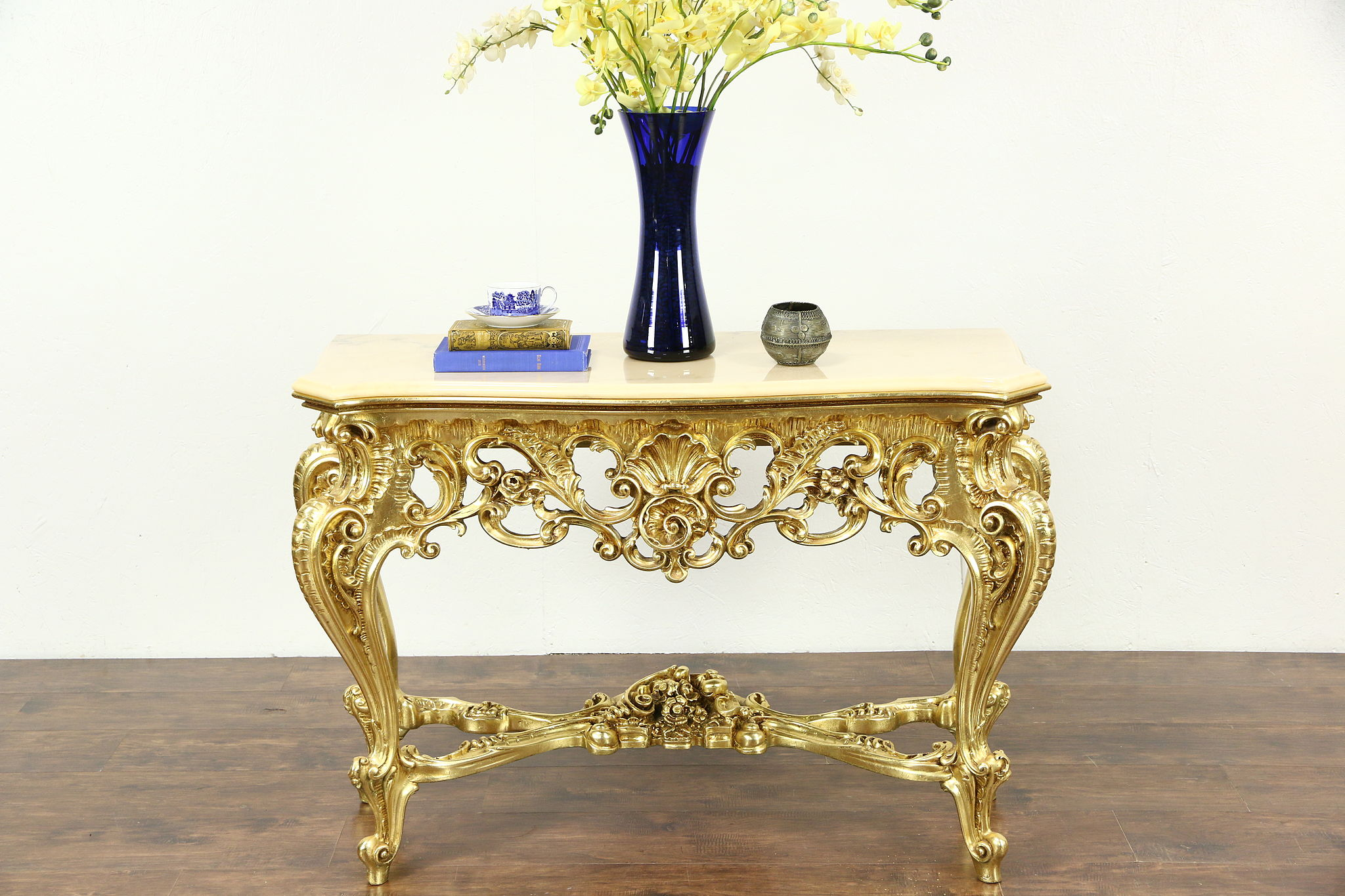 SOLD  Italian Carved Hall Console Table Marble Top Burnished Gold Finish  Harp Gallery
