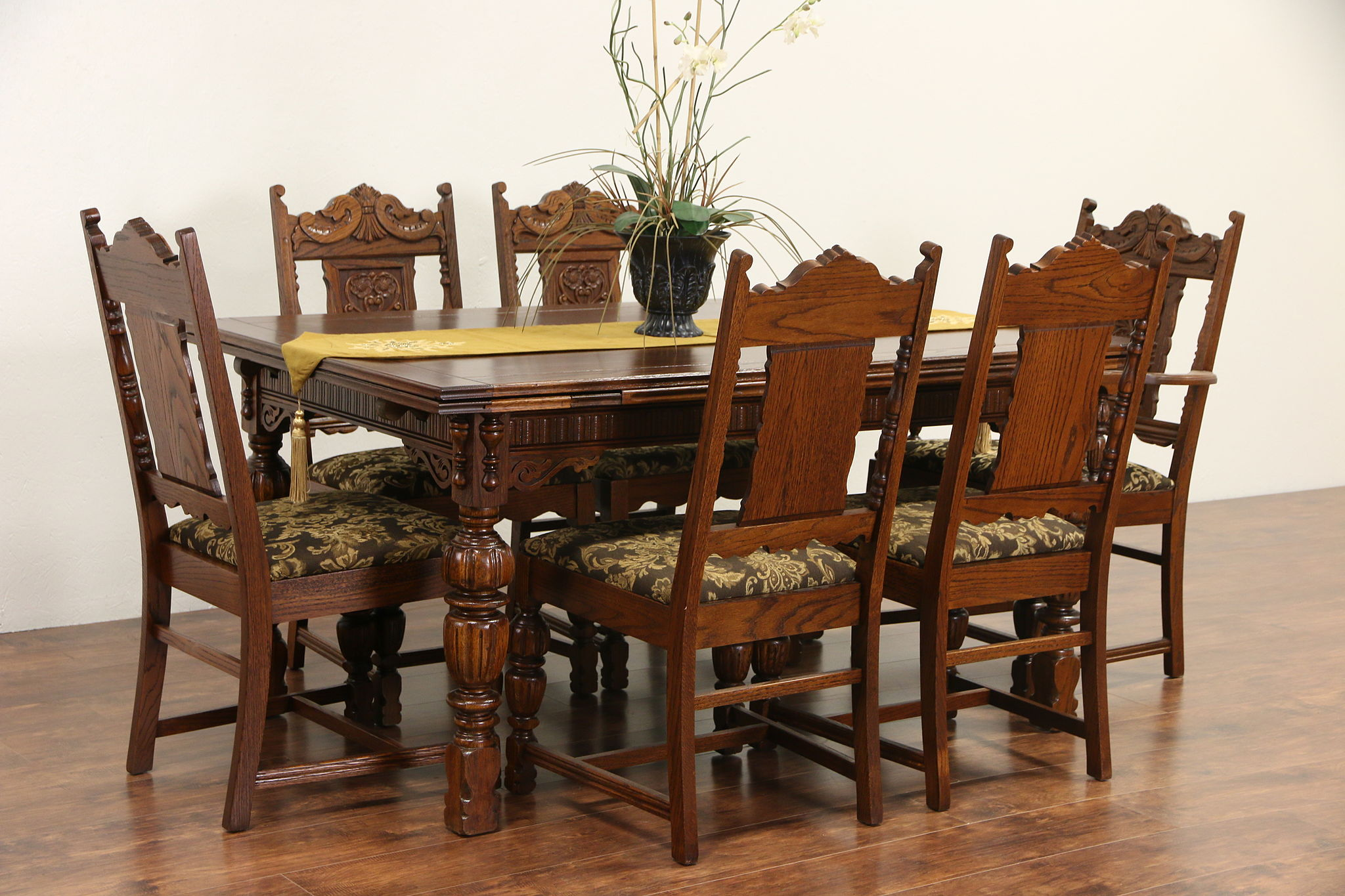 6 chair dining set rocking kits sold english tudor 1920 antique carved oak table chairs harp gallery