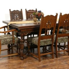 Henredon Asian Dining Chairs Small Corner Accent Chair Sold - English Tudor 1925 Antique Carved Oak Set, Table 2 Leaves, 6 Harp Gallery