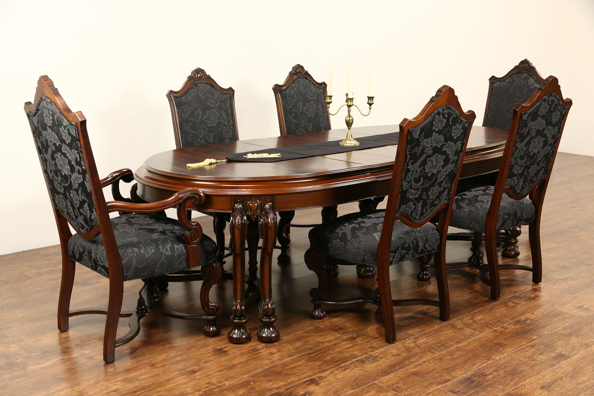 6 chair dining set leather office sale sold renaissance 1925 antique table 3 leaves chairs new upholstery harp gallery