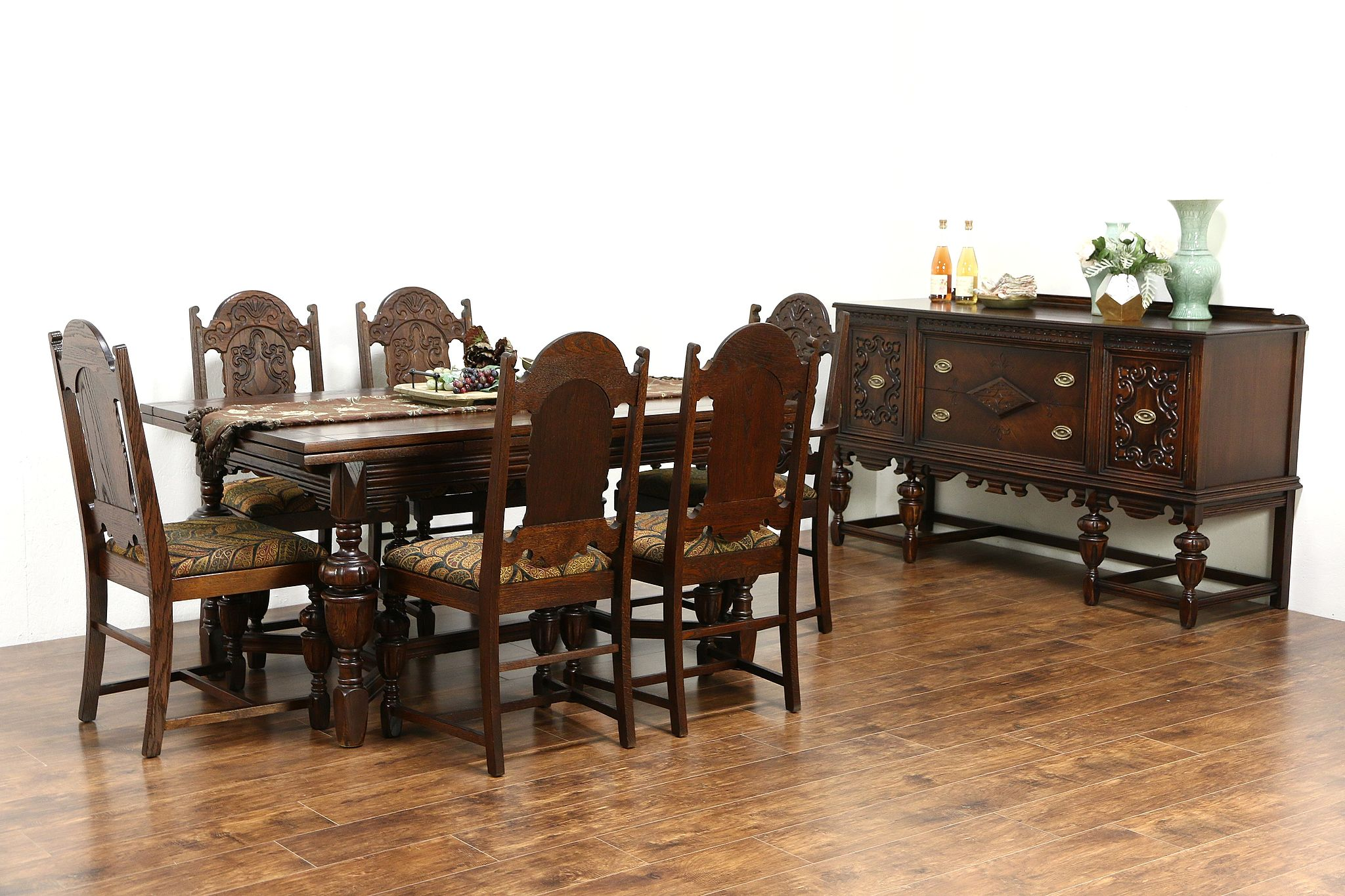 SOLD English Tudor 1920 Antique Oak Dining Set Table 6