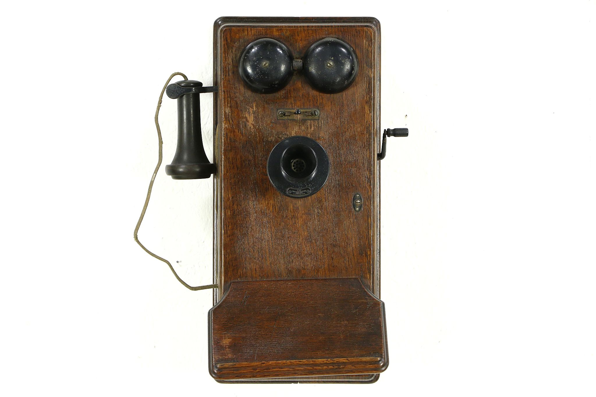 SOLD  Oak Antique Crank Wall Phone Signed Western