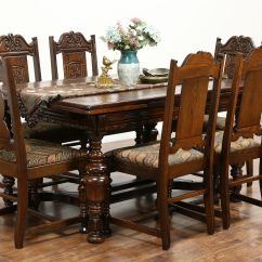 6 Chair Dining Set European Touch Pedicure Manual Sold Tudor 1925 Antique Carved Oak Table Chairs New Upholstery Harp Gallery