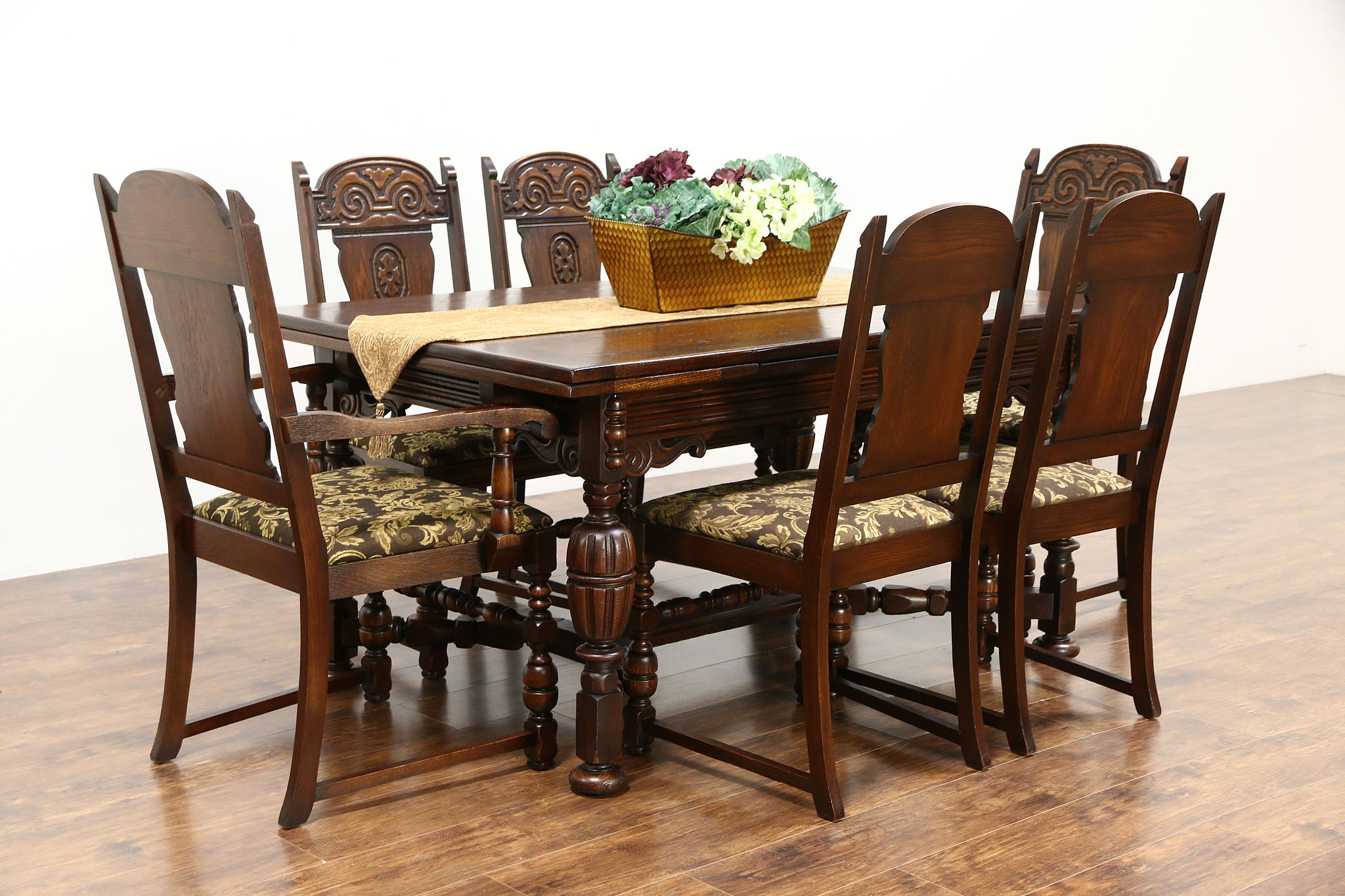oak dining set 6 chairs chair that will stand you up sold english tudor style 1920 antique new upholstery table harp gallery