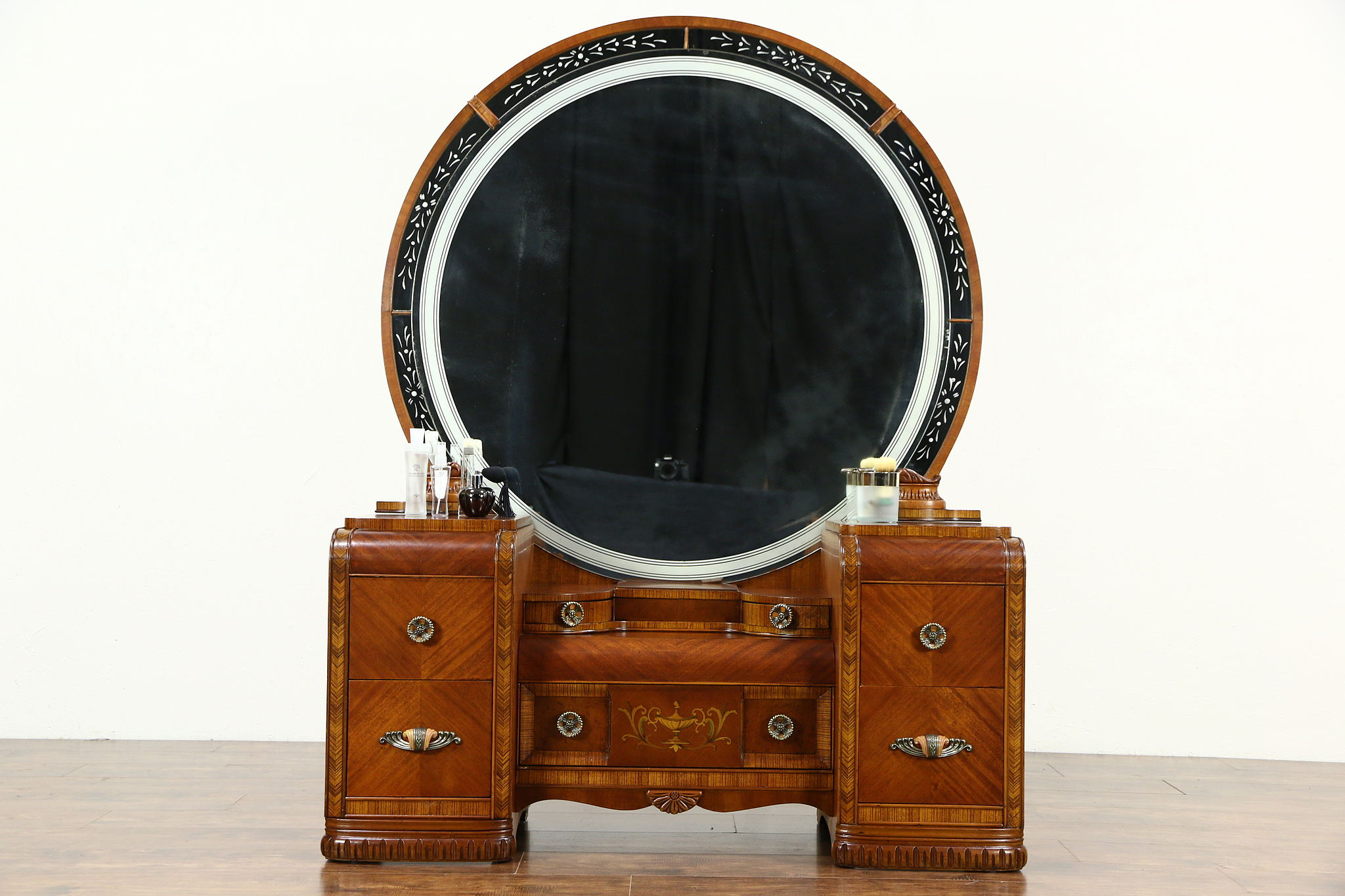 SOLD  Art Deco Waterfall 1935 Vintage Dressing Table