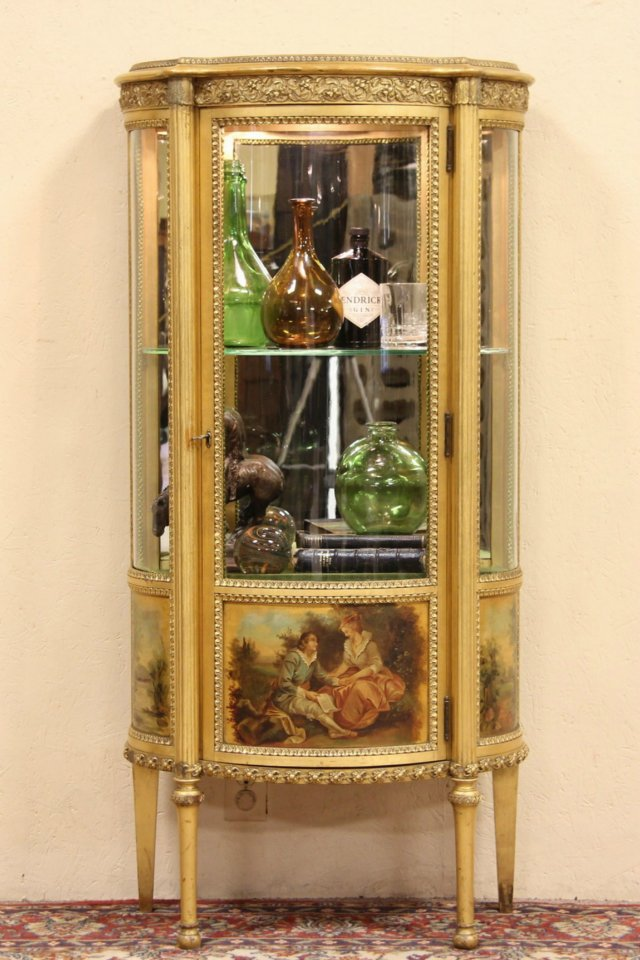 SOLD  Curved Glass Gold Leaf French Vitrine or Curio