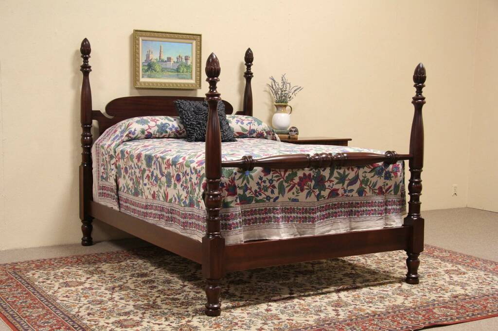 SOLD Poster Bed Carved Mahogany 1920 Full Size Harp