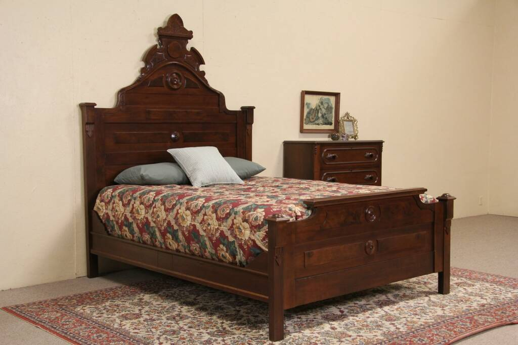SOLD  Victorian Queen Size Antique 1870 Carved Walnut Bed