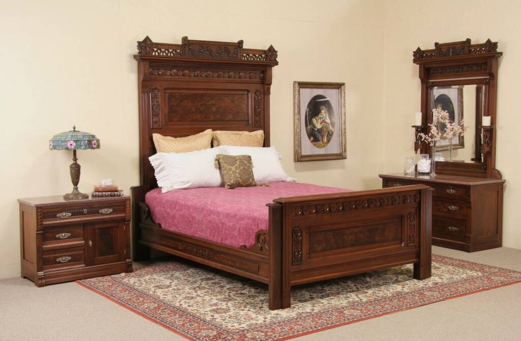 SOLD  Eastlake Antique Queen Bedroom Set Chest with Mirror and Nightstand Marble Top  Harp