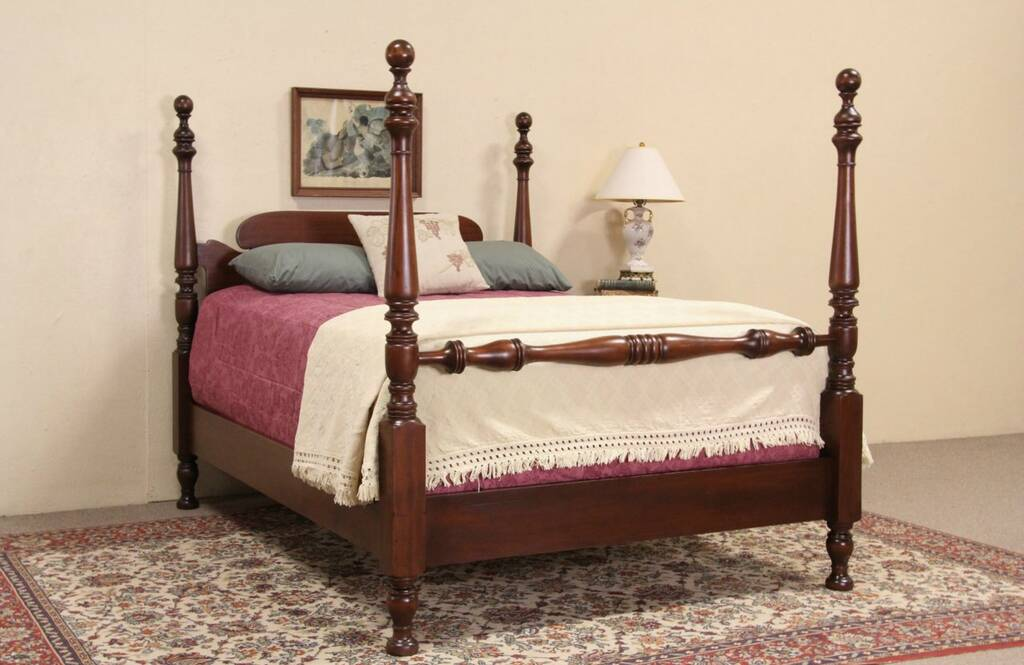 SOLD Poster Full Size 1910 Antique Mahogany Bed Harp
