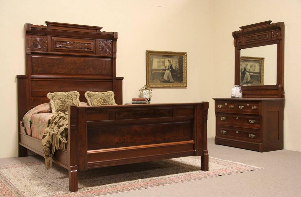 SOLD Victorian Eastlake 1880 Bedroom Set Queen Size Bed