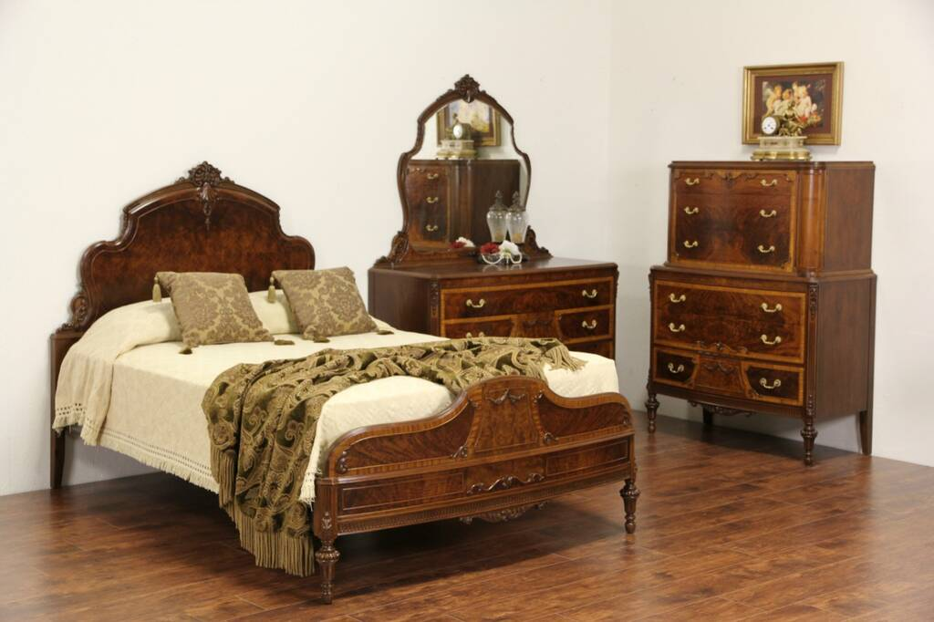 SOLD  Bedroom Set Full Size 1930s Vintage Carved Walnut  Burl 3 Pc  Harp Gallery Antique