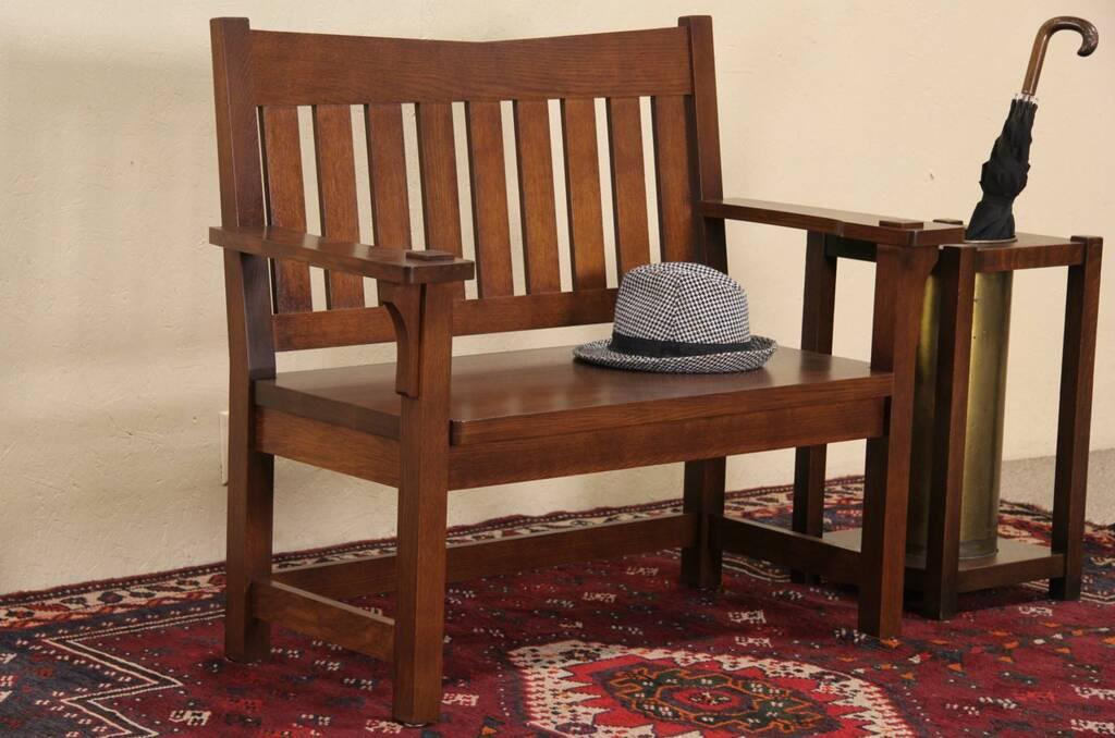 SOLD  Arts  Crafts Mission Oak Style Vintage Hall Bench  Harp Gallery Antique Furniture