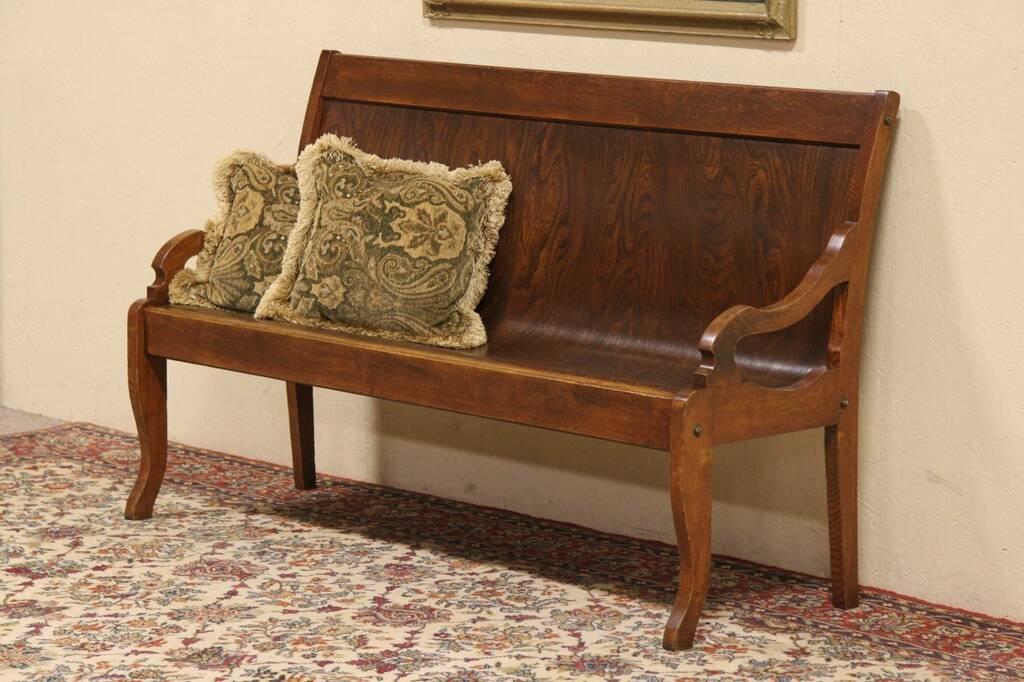 SOLD  Oak Railroad Depot Train Station 1900 Antique Bench  Harp Gallery Antique Furniture