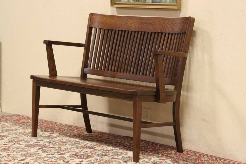 SOLD  Arts  Crafts Oak 1900 Railroad Train Station Bench