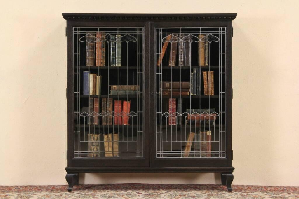 SOLD  Oak Ebonized 1895 Antique Library Bookcase Leaded